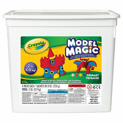Crayola Model Magic Coloured 2Lb Bucket - Squishy Air Drying Modelling 4 Colours