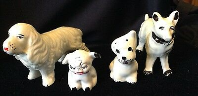 Lot of 4 Vintage Miniature White and Black Dogs OLD