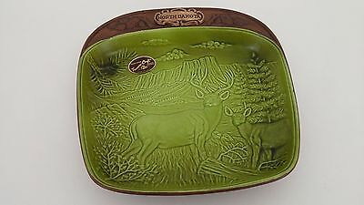 Vintage Treasure-Craft North Dakota Decorative Plate Green Deer MADE IN USA