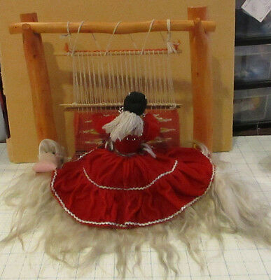 Large Vintage Navajo Hand-Crafted Weaver  Doll W/ Baby & Hand Woven Rug