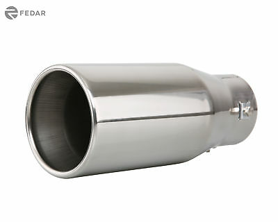 """Fedar Exhaust Tip 2.5/"""" Inlet 3.4x3/"""" Outlet 9.3/"""" Long Dual Wall Rolled Flat End"""
