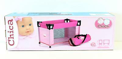 Chica  Portable Dolls Travel Cot in Pink   Pretend Parents New