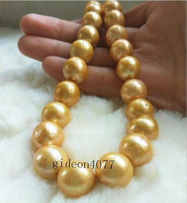 "HUGE baroque 18"" AAA 14*12MM SOUTH SEA NATURAL GOLD PEARL NECKLACE 14K CLASP"