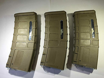 3 PCS BATTLEAXE M4 Airsof 300rds P MAG Magazine set for Airsoft AEG CA G&P (Tan)