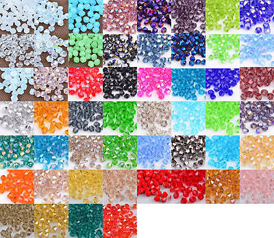 Lots 500 Pcs Bicone Faceted 5301# Crystal Glass Loose Spacer Beads 4mm 6mm
