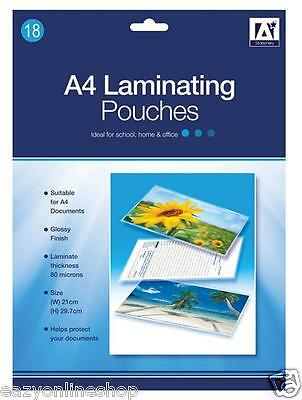 18 Pack A4 Laminating pouches Glossy Finish office Paper Protect Sheets Sleeves