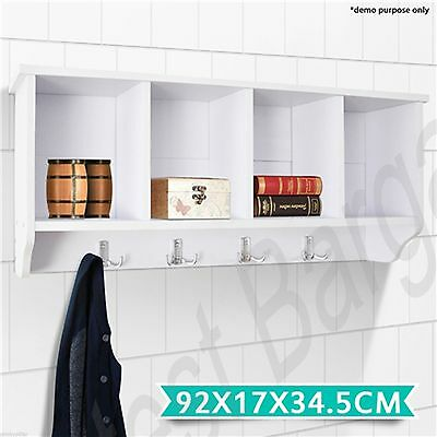 White Compartment Wall Coat Rack Cabinet Hall Hat Stand BookShelf Storage Hooks