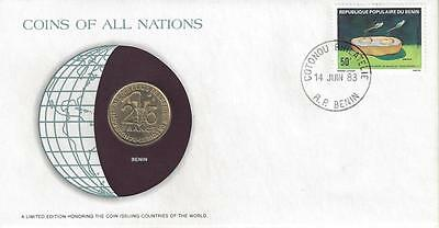 Coins of All Nations, Benin 25 Francs, Coin and Stamp