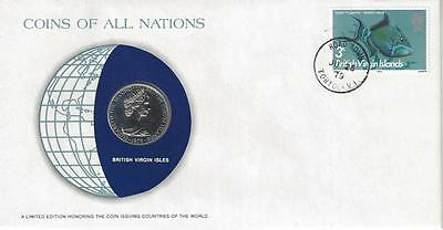 Coins of All Nations, British Virgin Isles, 25 Cents, 1979, Coin and stamp