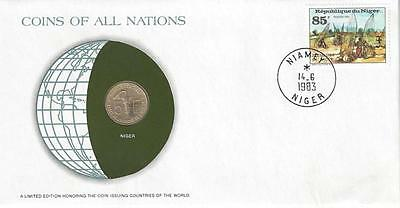 Coins of All Nations, Niger, 5 Francs, Coin & Stamp