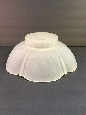 Vtg Art Deco Hanging 3 Hole Glass Shade Ceiling Light Fixture Frosted Glass ONLY