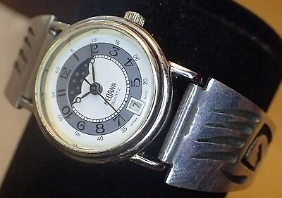 Medana Moonphase w Date Woman's Watch w Sterling Tipped Hopi Bear Watch Band #29