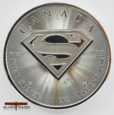 2016 Canadian Superman, unc: 1oz Troy ounce Fine Silver Bullion Coin