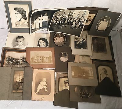 Lot Of (20) Vintage Late 19th Century/Early 20th Century PHOTOGRAPHS Portraits