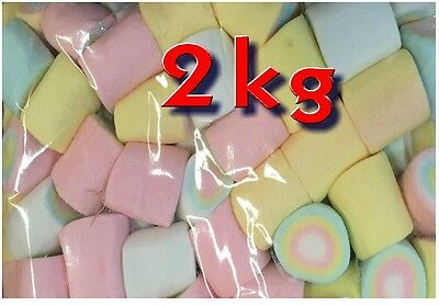 Large Rainbow Marshmallow 2 kg Halal Gluten Free Bulk Lollies Candy Buffet Sweet