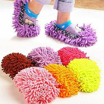 1pcs Multi-Function Chenille Fibre Washable Dust Mop Slippers Cleaning Shoes SG