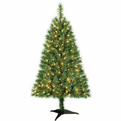 Indiana Spruce 4 ft Artificial Pre-Lit Clear Lights Christmas Tree w/Base - NIB