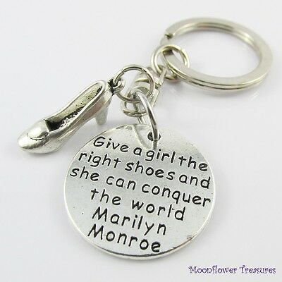 Marilyn Monroe Give a girl the right Shoes Charm Swivel Bag Tag Keychain 76mm