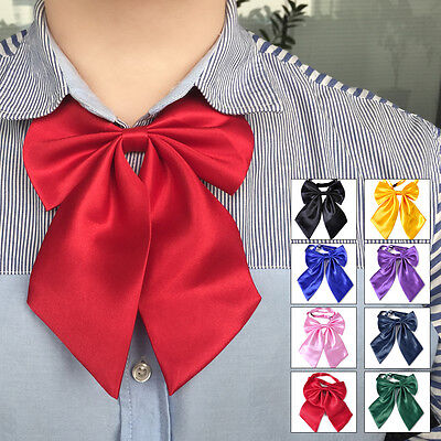 Fashion Women Girl Bow Tie Neckwear Party Banquet Solid Color Adjustable Necktie