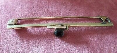Antique Edwardian Purple Paste Stone Bar Pinchbeck Brooch