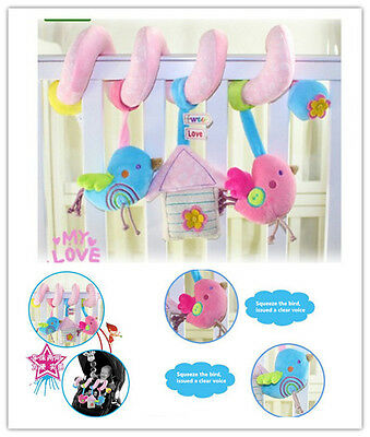 2017 Birds Stroller Spiral Car Seat Cot Twisty Curly Plush Activity Hanging Toys