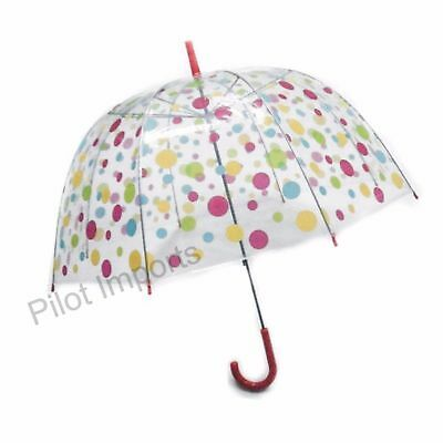 Pink Colour Polka Dot Ladies Umbrella Full Clear Bubble Dome Brolly Birdcage