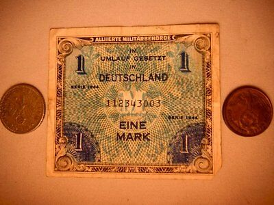 World War two 2 II  Currency and Coin Set  Two German Coins and one Currency Bil