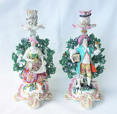 1780 English Chelsea Porcelain Figural Boccage Candlesticks, Gold Anchor