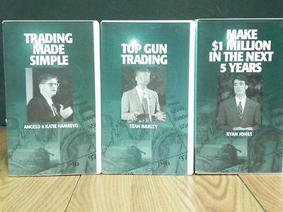 """3 Trading Vhs Videos: Top Gun Trading""""/trading Made Simple"""" / Make $1M In 5 Yrs"""