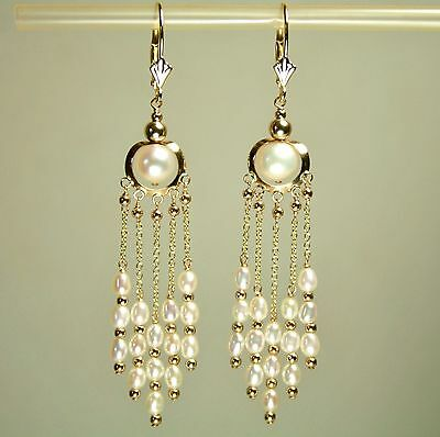 14k solid yellow gold natural freshwater white Pearl earrings leverback 4.3gram