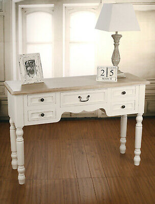 French Provincial Desk Side Table Antiqued Style 5 Drawers Unit BRAND NEW