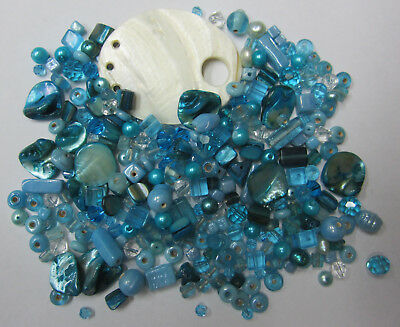 Blue Sea Shells Bead Mix, 100+ Assorted Glass, Pearl & Shell Beads,Shell Pendant
