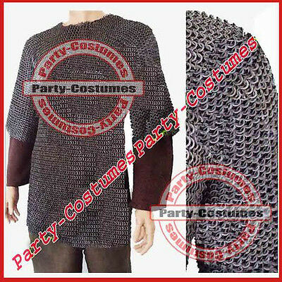 Large Size Flat Riveted W/ Flat Washer Chainmail Shirt Chain Mail Haubergeon ac1