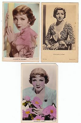 CLAUDETTE COLBERT  3 Vintage postcards  MOVIE STAR ACTRESS