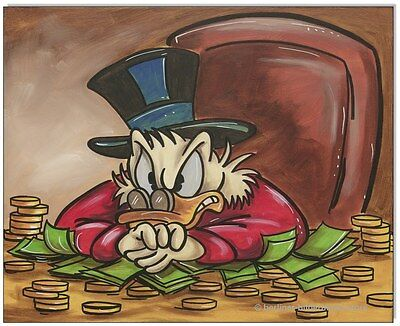 KLAUSEWITZ:ORIGINAL ACRYL GEMÄLDE AUF LEINWAND:UNCLE SCROOGE- THE GREED/40x50 cm