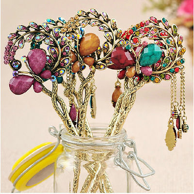 Women Retro Crystal Butterfly Flower Chinese Style Hairpin Hair Stick Hair Clip