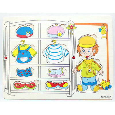 1 Set Baby Magic 3D Wooden Educational Dressing Up Clothes Puzzles Children Toys