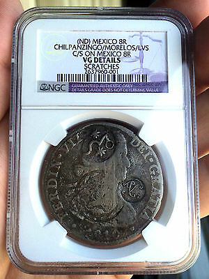 ¡¡ VERY RARE !! Silver coin 8 Reales Ferdinand VII 1810. 3 counterstamps Mexico.