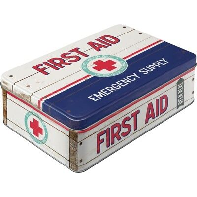 Nostalgic Art Vorratsdose flach First Aid Blue - Emergency Supply Blechdose