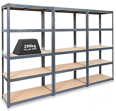 3 x STORALEX® 600mm Deep Garage Shelving / Warehouse Racking Units 200KG UDL