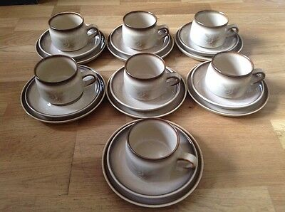 DREDUCED Denby Memories Pattern, 7 Tea / Coffee Cups, 7 Saucers, 7 Side Plates.