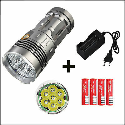 PACK LAMPE TORCHE LED T6 12000lumens 7 leds Type SKY RAY + chargeur et batteries