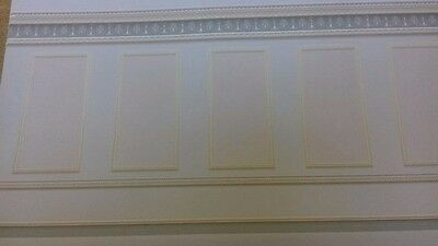 Dolls House Emporium 1:12th Scale Grey/Blue Panelling Wall Paper 5240