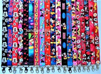 Disney Mickey Minnie Mouse Lanyard Neck Straps id badge/ key/ phone/ whistle