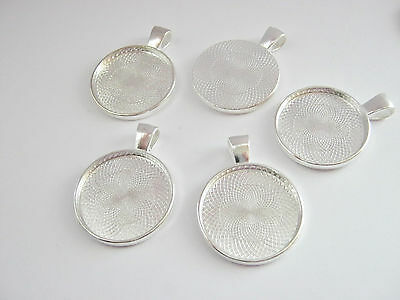 """5 Pendant Trays Blanks, Round Bezel fits 25mm (1"""") Necklace Cabochon Settings"""