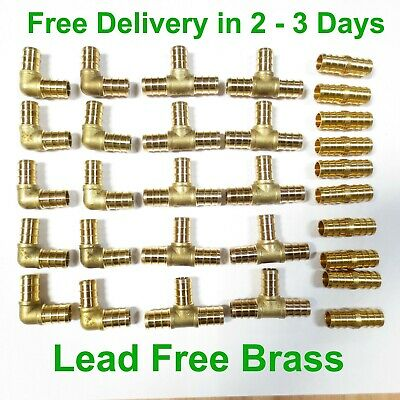 "1/2"" LEAD FREE BRASS PEX FITTINGS Elbow Coupler Tee"