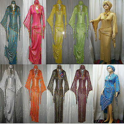 A lot of 15 PCS different OR similar color & size Egyptian Galabeya belly dance