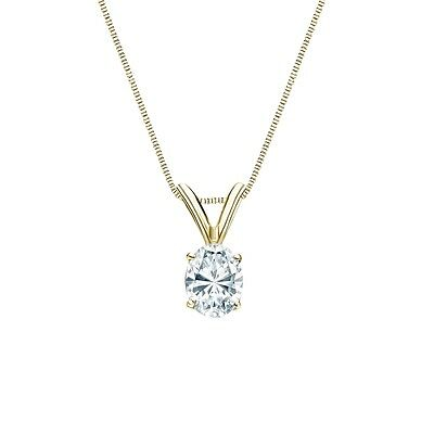 """1 Ct Oval Brilliant Cut Solid 14k Yellow Gold Solitaire Pendant 18"""" Necklace"""
