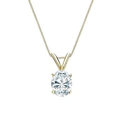 """2.50 Ct Oval Brilliant Solid 14k Yellow Gold Solitaire Pendant 18"""" Necklace"""