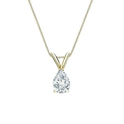 """1.25 Ct Pear Brilliant Solid 14k Yellow Gold Solitaire Pendant 18"""" Necklace"""